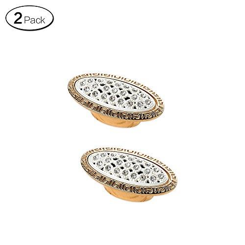 Zhi Jin 2Pcs Luxury Diamond Cabinet Handles Wardrobe Shoe Drawer Handle Room Decoration Gold Single Hole-730 by Zhi Jin