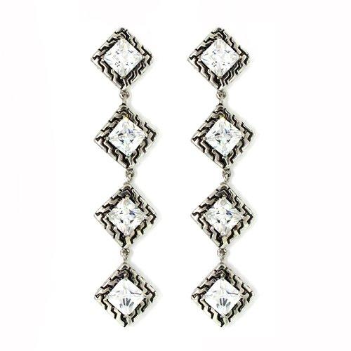 Vintage Designer-Inspired Dangle Earrings w/White (Clear Czs Designer Inspired Ring)