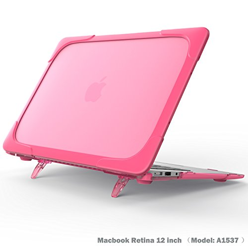 Macbook Retina 12 inch Case, Wtiaw[Heavy Duty] Slim Rubberized [Snap on] [Dual Layer] Hard Case Cover with breathe and cool itself freely TPU Bumper Cover for (Model: A1534 Release 2015) - Rose (Rubberized Purple Rhinestones)