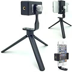 AccessoryBasics smartphone holder, Mini tripod Grip & 1/4-20 tripod adapter allow you Mount your phone to a tripod easily! Fits any phone up to 3.6 inches wide to any 1/4-20 tripod. Durable metal base tripod adapter with 360º swivel thumb...