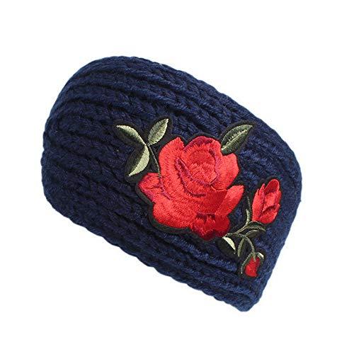 LOKODO Women Rose Print Wide Turban Knotted Knitting Headband Handmade Keep Warm Hairband Headwraps with Many Color]()