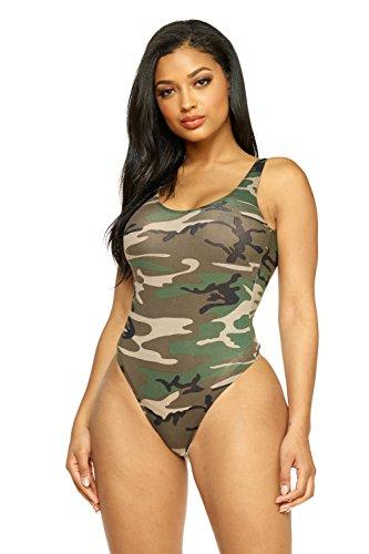Women's J2 Love Cotton Tank Thong Bodysuit, Medium, Camouflage ()