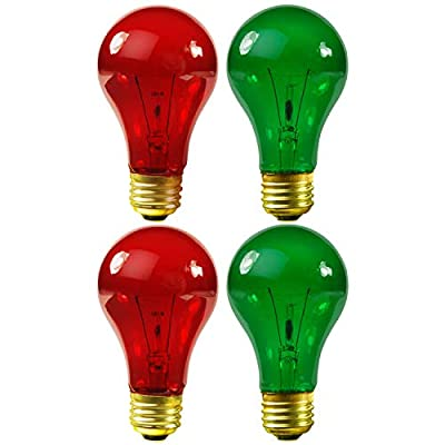 4 Pack 25 Watt A19 Colored Transparent Red and Green Incandescent Medium Base Party Light Bulb Red Light Bulb Green Light Bulb