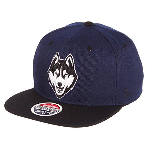 Zephyr NCAA Connecticut Huskies Men's Z11 Static Snapback Hat, Adjustable, Black/Team Color
