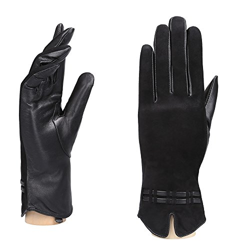 YISEVEN Women's Lambskin Leather Lined Winter Gloves/ Touchscreen