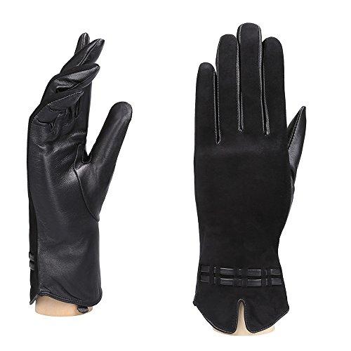 YISEVEN Women's Lambskin Leather Lined Winter Gloves/ Touchscreen