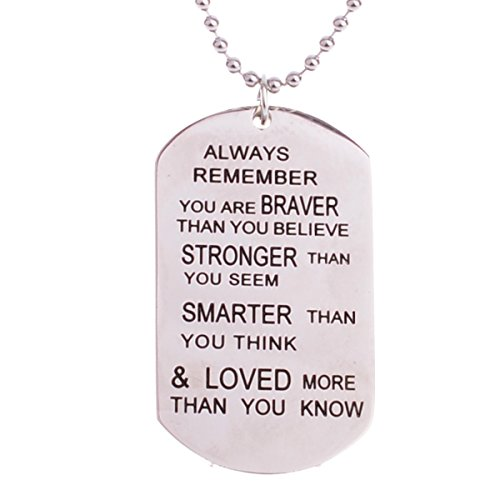 Always Remember You Are Braver Than You Believe Jewelry Pendant Necklace Inspirational Gifts