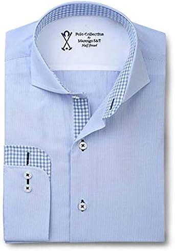 Camisa de Vestir Manga Larga, con Falso Liso de Color Azul ...
