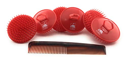 GBS Shampoo Scalp Massage Brush 100 Made In USA (6 Pack Color Red) With 7 Inch All Purpose Comb Promotes Healthy Hair Gently Exfoliates Scalp and Hair Growth Compliments Any Shampoo and Conditioner ()