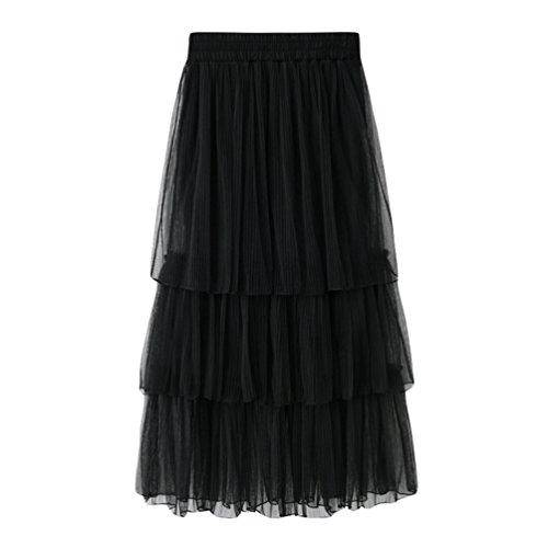 Plisse Taille Jupes Maxi Princesse Noir de Yiiquanan Femme Plage Gateau en Tulle Dt Jupe Haute Longue vwwt0XqT