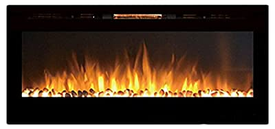 """Moda Flame MFE5048WS 50"""" Cynergy Built-In Wall Mounted Electric Fireplace - Pebble Stone"""