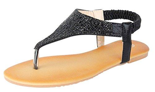 Cambridge Select Dames T-strap Kristal Strass String Instappers Plat Sandaal Zwart