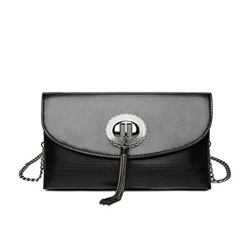 Sac bandoulière Messenger PU Enveloppe métal Type Gland à glissière Bag Loisirs Noir Serrure bandoulière rétro Fermeture Simple à 64OvPP8