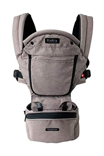 MiaMily Hipster Plus 3D Child Baby Carrier – Perfect 360 Backpack Alternative for Hiking with 6 Carrying Positions and Ergonomic Design with Hip Protection for Toddler or Infant Stone Grey