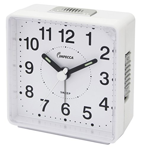 Impecca WAT2810W Travel Alarm Clock Sweep Movement White