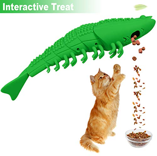 Transy Catnip Cat Toys, Interactive Cat Toothbrush Catnip Chew Toys, Chew Treat Toys for Kitten Kitty Cats Lobster Shape, Rubber Kitten Toys 4