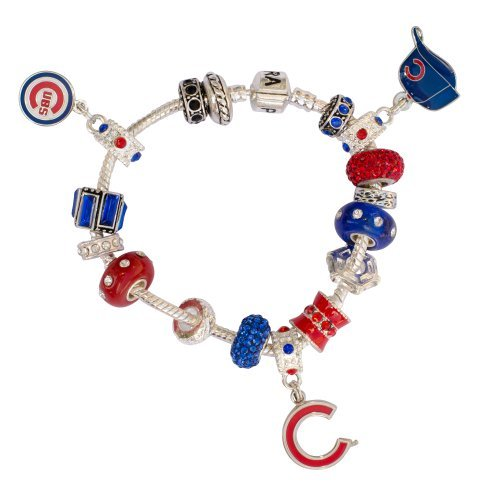 Sterling Silver Chicago Cubs Charm - Chicago Cubs Large Hole Bead Bracelet Fits Wrist Size ~ 6 1/4 - 6 1/2