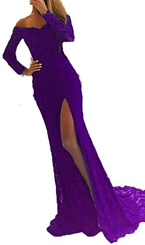 Prom BessDress 1 for Formal Evening with Wedding Split Sleeves Neck Long Party V Purple Mermaid Dresses BD060 ApUxaqwrAv