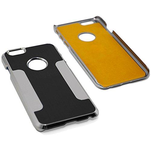 Premium Chrome Aluminum Hard Case for Apple iPhone 6 (4.7 inch), Black & Silver + Cellular Connection Microfiber Cloth [Cellular Connection]
