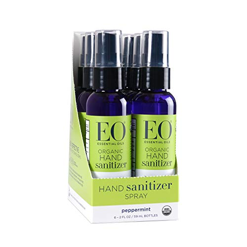 EO Organic Hand Sanitizer Spray, Peppermint, Travel-Size, 2 Ounces, 6 Count from EO