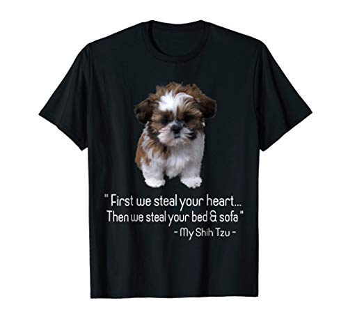First we steal your heart, Shih Tzu Tshirt Love Gift ()