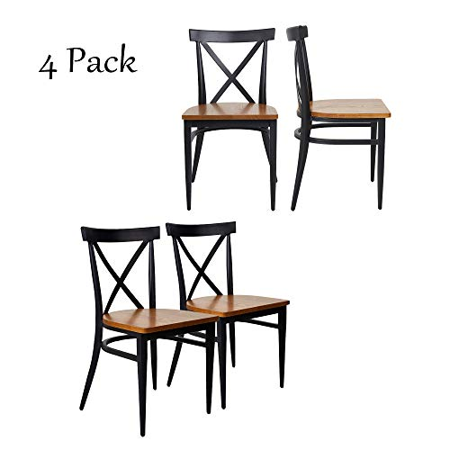 Dporticus 4 Set Dining Chairs with Solid Wood Seat and Metal Frame X Back Side Chairs Set of 2 Black