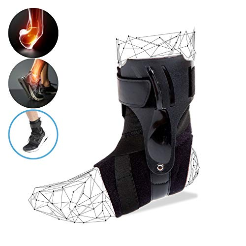 Ankle Brace Compression Support Sleeves Sprained Ankle, Basketball, Volleyball, Running, Sports, Achilles Tendonitis, Soccer, Pain Injury Drop Foot, Ligament Damage, Tennis, Women Men (Black, L)