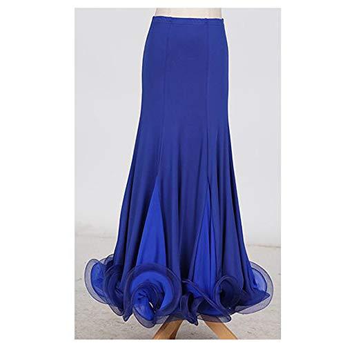 (ZTXY Women Classic Dance Dress Dark Blue Floral Social Dance Skirt Latin Belly DanceCompetitionCostume VoluminousSkirt Full Skirt hemlines Plus Size XL)