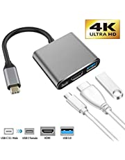 USB C to HDMI Adapter, IGUGIG 3-in-1 4K Type C to HDMI Multiport Converter with USB 3.0 Port and USB C Fast Charging Port Compatible with MacBook Pro/Chromebook Pixel/Projector/Monitor