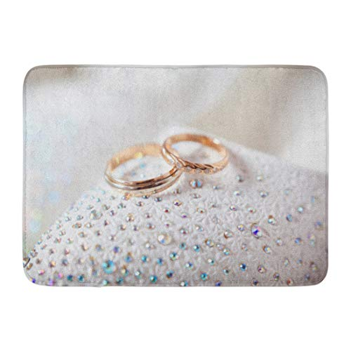 Emvency Bath Mat Bow Band Gold Wedding Rings on White Bearer Bridal Bathroom Decor Rug 16