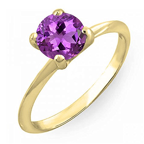 14K Yellow Gold 7mm Round Cut Amethyst Solitaire Bridal Engagement Ring (Size (Fancy Cut Amethyst Ring)