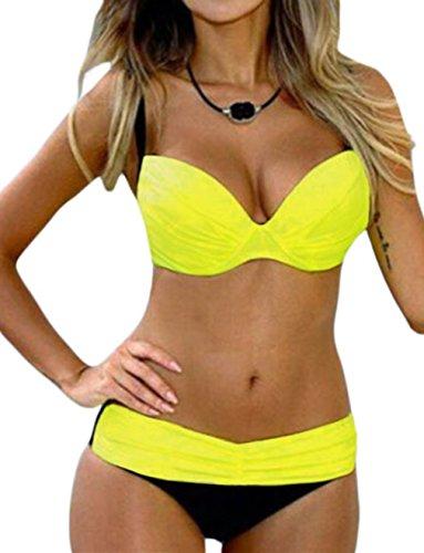 Happy Sailed Women Elegant Vintage Push up High Waisted Bikini Swimsuits, Medium Yellow