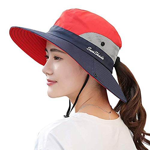 Ponytail Women's Summer Sun Bucket Hats UV Protection Safari Hiking Wide Brim Beach Foldable Mesh Fishing Cap (One Size, Z-Red)
