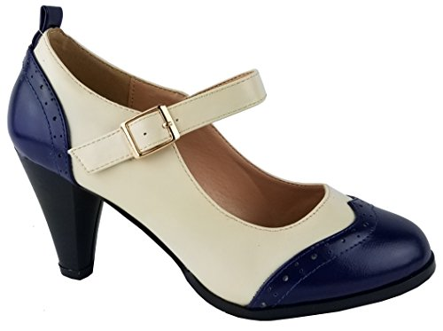 Chase & Chloe Dora-2 Dames Ronde Neus Two Tone Mary Jane Pumps Marinewhite