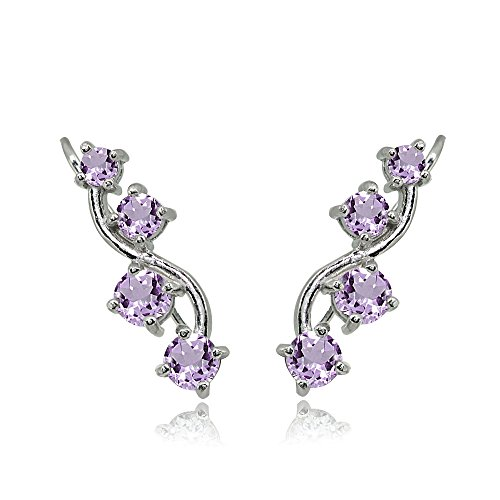 Sterling Silver Amethyst Vine Climber Crawler Earrings for Women