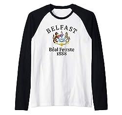 Belfast Shirt Historic Northern Irish City Coat Of Arms Gift Raglan Baseball Tee