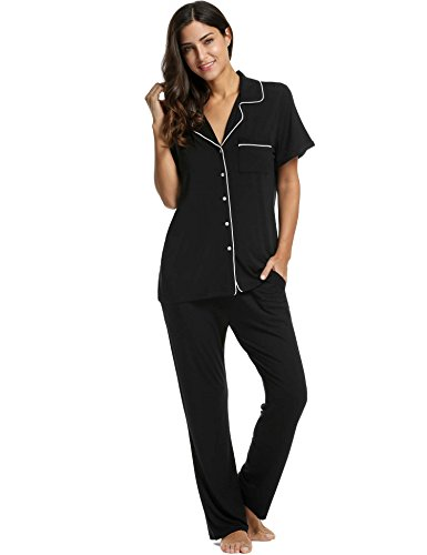 Avidlove Womens Comfort Pajama Set Short-Sleeve with Long Pjs Pants Soft Sleepwear, X-Large, Black Pj (Sleeve Black Short Pajamas)