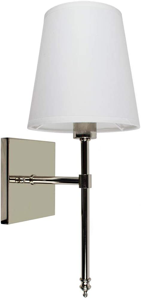 Single Traditional Wall Light with Fabric Shade Polished Nickel Vanity Lamp Sconce with LED Bulb Interior Lighting