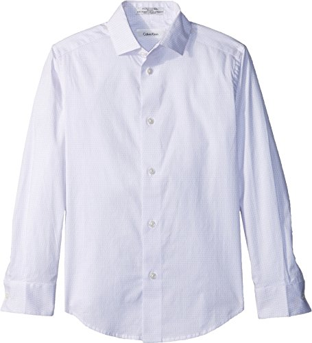 Calvin Klein Big Boys' Long Sleeve Dobby Woven Shirt, Pastel Purple, 8 (Calvin Long Sleeve Dress Shirt)
