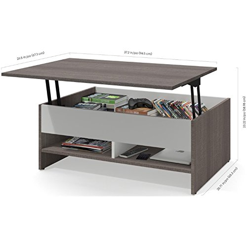 Bestar Furniture 16850-47 Small Space 2-Piece Lift-Top Storage Coffee Table and TV Stand Set in Bark Gray and