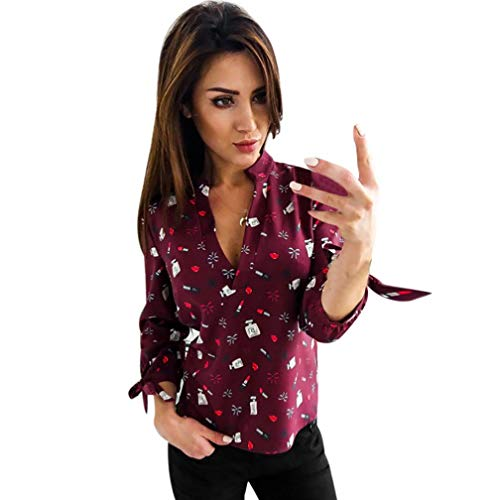 - Kulywon Women Fashion Print T-Shirt Long Sleeve Bandage Stand Pullover Blouse Tops
