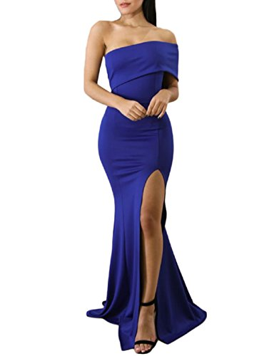 ZKESS Women's Off Shoulder Sexy Length Evening Party Dress Blue S (Prom Back Open Gown)