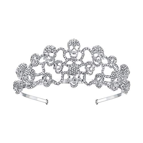 EVER FAITH Halloween Skull Hair Band Tiara Clear Austrian Crystal Silver-Tone