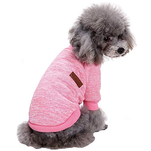 (Fashion Focus On Pet Dog Clothes Knitwear Dog Sweater Soft Thickening Warm Pup Dogs Shirt Winter Puppy Sweater for Dogs (Pink, XXS))