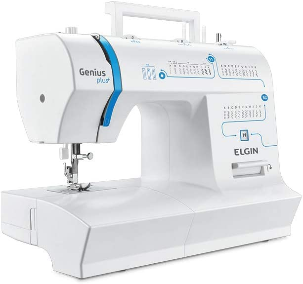 Maquina de Costura Genius Plus, 110V, Portátil, Versátil, Elgin, Branco / Azul por Elgin