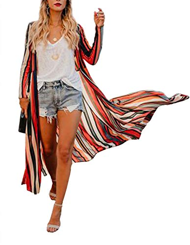 Womens Long Robe Striped Beach Wear Cover up Boho Sheer Wrap Casual Tops (3XL)
