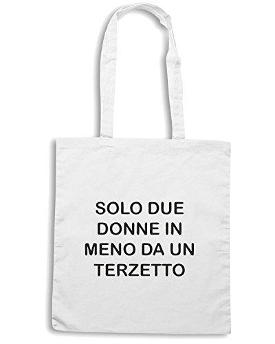 T-Shirtshock - Bolsa para la compra TDM00256 solo due donne in meno da un terzetto Blanco