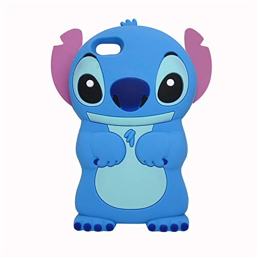 iPod Touch 5th / 6th Generation Blue Stitch Case,3D Cartoon Animal Character Design Cute Stitch Soft Silicone Kawaii Cover,Cool Cases for Kids Boys Girls (Stitch, iPod Touch 5/6) (Ipod 5 Generation Cartoon Cases)