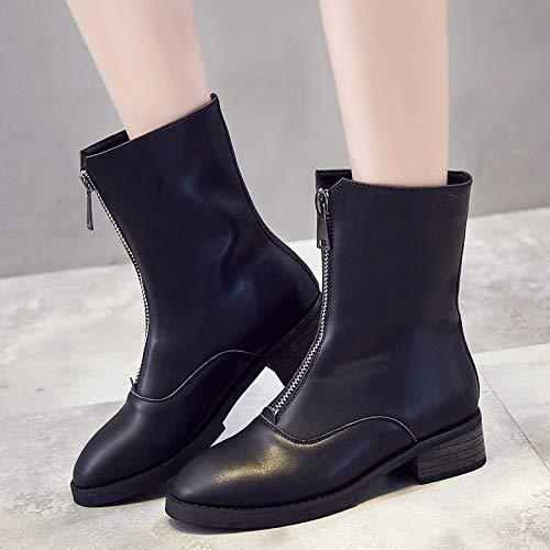 Lianaii Damen Stiefel Herbst Herbst Herbst Und Winter Leder Front Reißverschluss Stiefel Baumwolle Stiefel Schwarz Retro Flache Stiefel 954b32