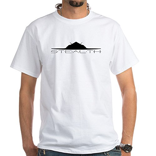 CafePress Black Stealth Aircraft T-Shirt - 100% Cotton T-Shirt, White